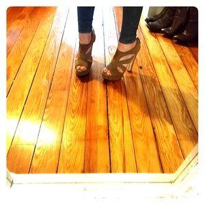 Suede Miu Miu high heel cut out sandal/bootie