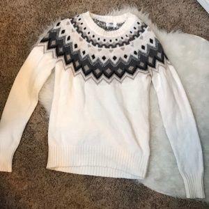 Old Navy White winter patten sweater XS, EUC