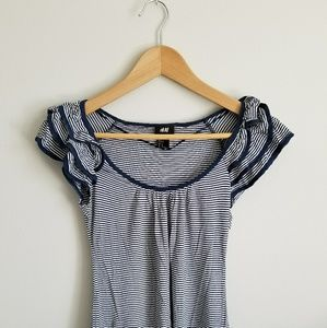 H&M navy stripes shirt with shoulder frills
