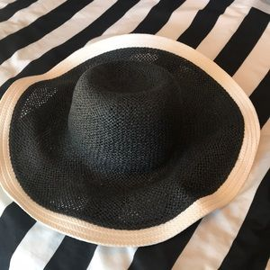 Floppy woven goth summer hat Black white witchy