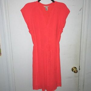 H&M ruffled red dress for the office