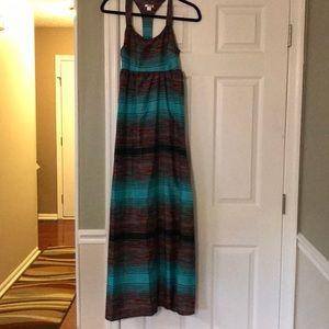 Xhilaration Teal Striped Racerback Maxi Dress