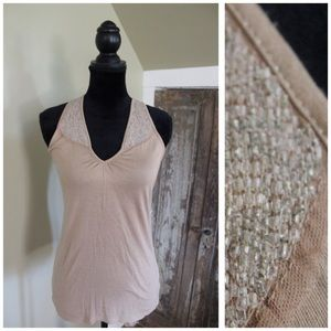 Racerback sequined tank top