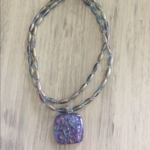Jewelry - Sterling, Dichroic, and Swarovski Crystal Necklace