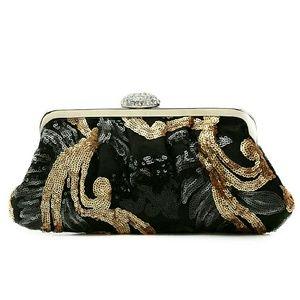 Handbags - Black & Gold Sequin Clutch