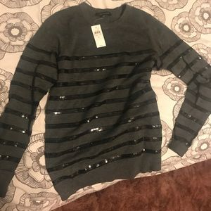 Ann Taylor Striped Sequin Sweater
