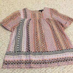 Jcrew short sleeve printed blouse