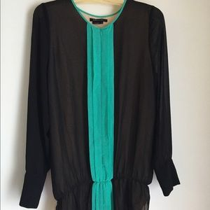 BCBG Multi-Colored Zip Up Long-Sleeved Blouse