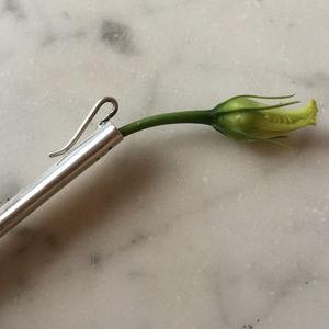 Vintage Sterling Silver Clip On Flower Pocket