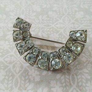 Vintage crescent rhinestone brooch