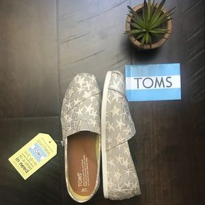 Toms Oxfords tan/gold Foil starfish slip on shoes