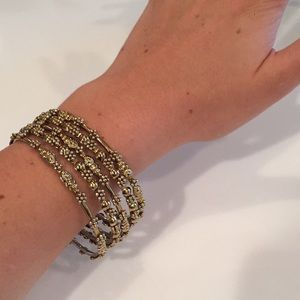 Jewelry - Set of 5 Embellished Gold Bangle Stack