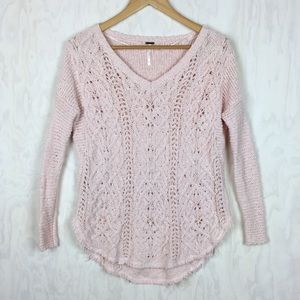 Free People cable slub knit sweater raw hem XS