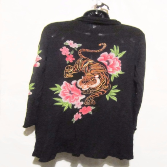 35b91bc012e INC Embroidered Open Front Long Flowers Tiger