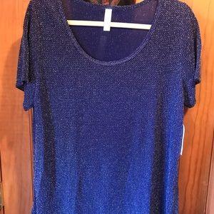 NWT XL LLR Elegant Classic T Blue & Silver Sparkle
