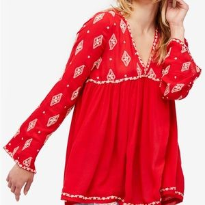 NWT Free People Embroidered Top