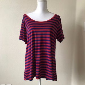 Lularoe XL Irma Blue Red Striped Tee Shirt Blouse