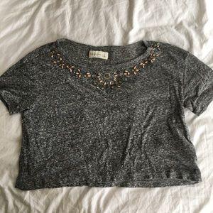 Beaded grey top