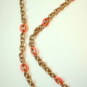 J.Crew Coral & Gold Chain Necklace (NWT)