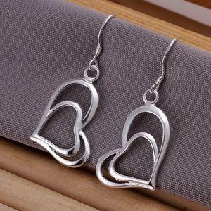 Jewelry - S925 Silver Double Open Heart Dangle Earrings