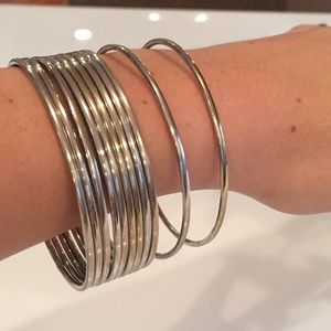 Jewelry - Stack of 11 Solid Silver Bangles