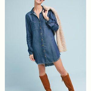 ANTHROPOLOGIE Jean Raw Edge Shirt Dress NWOT