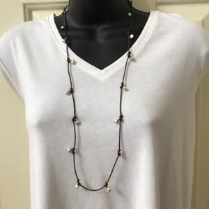 Club Monaco Faux Peals on Leather Cord Necklace