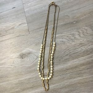 J. Crew Pearl and Chain Layered Necklace