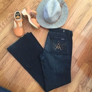 7 For All Mankind dark blue & gold jeans