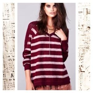 We the Free Striped Sweater Crochet Sleeve
