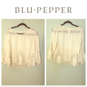 White Lace Cotton 3/4 Sleeve Button Back Top