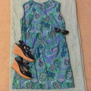 VINTAGE 1960s Tiki High Neck Shift Dress