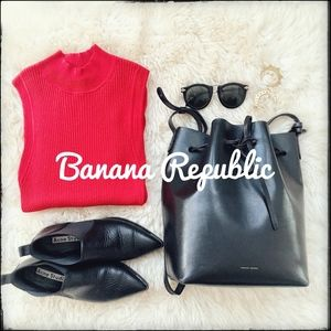 Banana Republic Ribbed Red Mock Neck Tank Top - S