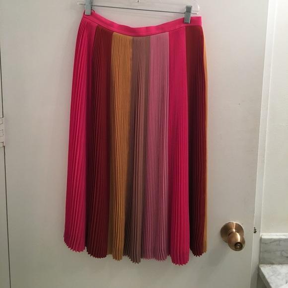 434aec0ad JCrew Multi Color Striped Pleated Midi Skirt. M_5a18912313302a375408545c