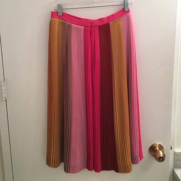 bfa362bdb J. Crew Skirts | Jcrew Multi Color Striped Pleated Midi Skirt | Poshmark