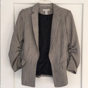 H&M Open Front Ruched Sleeve Tweed Blazer - Sz 2