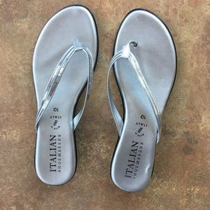 Size 10 Italian shoe makers silver flat sandals