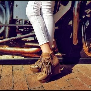 Shoes - Fringe Faux Leather Ankle Boots