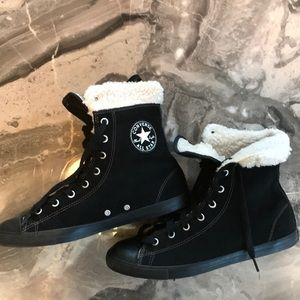 Converse Black Hightop with faux shearling