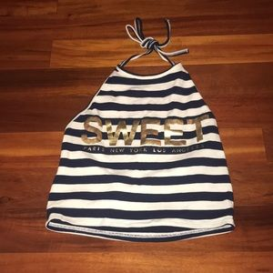 White and navy blue halter top