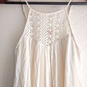 XS Mossimo White Maxi Dress with Lace Neck Detail