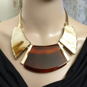 Massive Amber Ivory Gold LUCITE Bib Necklace