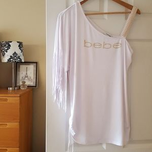 bebe white one shoulder top with fringe size L