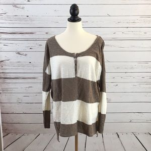 Free People Brown & White Striped Top Size XS