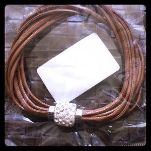 Jewelry - NWT brown leather multi strand bracelet w bling
