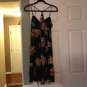 American Eagle Black Floral Racerback Dress