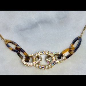 J. Crew Pave & Tortoise Shell Chain Necklace
