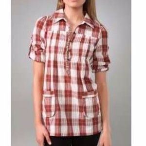 FREE PEOPLE Dobby Matador Red Plaid Tunic Top