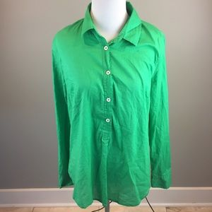 J Crew Woman's Green Indian Voila Popover Tunic 8