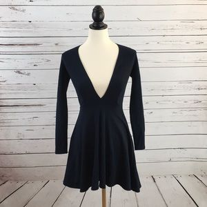 American Apparel Deep V Skater Dress Navy Sz XS